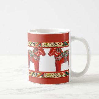 Swedish Dala Horses with Christmas Folk Art Border Basic White Mug
