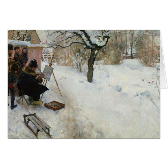 Swedish Farm in Winter Card