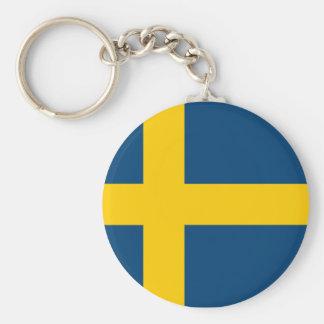 Swedish Flag Basic Round Button Key Ring
