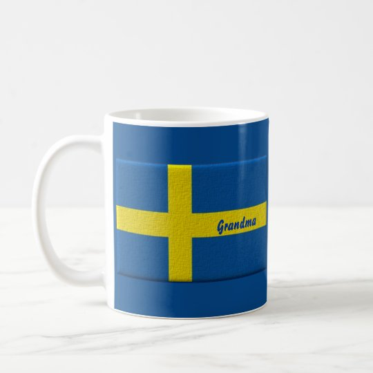 Swedish Flag Grandma or Custom Name Coffee Mug