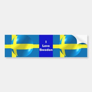 Swedish Flag I Love Sweden Bumper Sticker