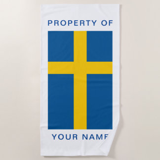 Swedish flag of Sweden personalized beach towel