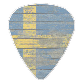 Swedish Flag on Rough Wood Boards Effect White Delrin Guitar Pick