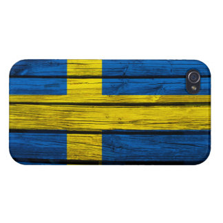 Swedish Flag Rustic Wood Case For iPhone 4