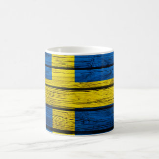 Swedish Flag Rustic Wood Coffee Mug