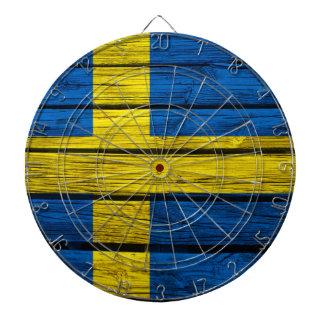 Swedish Flag Rustic Wood Dartboard