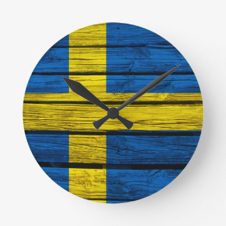 Swedish Flag Rustic Wood Round Clock