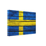 Swedish Flag Rustic Wood Stretched Canvas Print