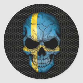 Swedish Flag Skull on Steel Mesh Graphic Classic Round Sticker