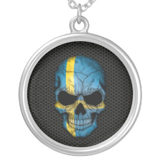 Swedish Flag Skull on Steel Mesh Graphic Personalized Necklace
