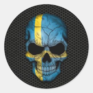 Swedish Flag Skull on Steel Mesh Graphic Round Sticker
