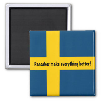 Swedish Flag Theme Fridge Magnet - pancakes -