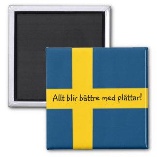 Swedish Flag Theme Fridge Magnet - plättar -