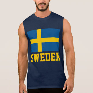 Swedish Flag Yellow Customizable Text Sleeveless Shirt