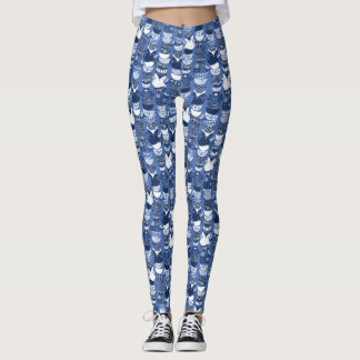 Swedish folk cats I // Indigo blue background Leggings
