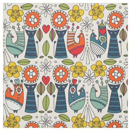 Swedish folksy cats and birds fabric
