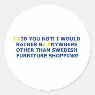 Swedish Furniture Shopping Round Stickers