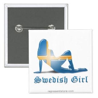 Swedish Girl Silhouette Flag 15 Cm Square Badge