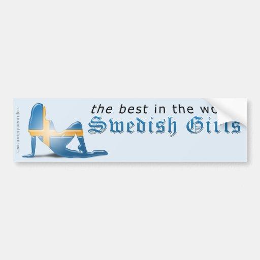 Swedish Girl Silhouette Flag Bumper Stickers