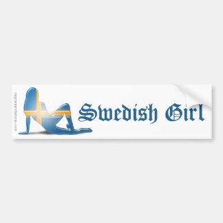 Swedish Girl Silhouette Flag Bumper Sticker