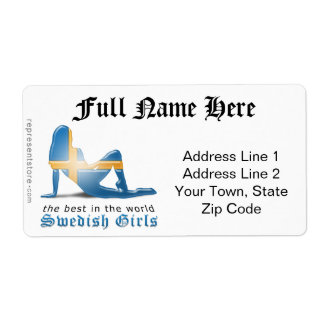 Swedish Girl Silhouette Flag Shipping Label