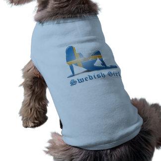 Swedish Girl Silhouette Flag Sleeveless Dog Shirt