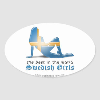 Swedish Girl Silhouette Flag Oval Sticker