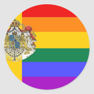 Swedish GLBT Pride Flag Round Sticker