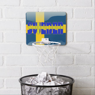 Swedish glossy flag mini basketball hoop