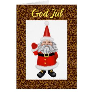 Swedish Gnome God Jul Christmas Greeting Card
