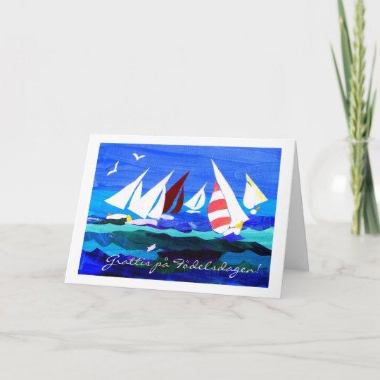 Swedish Greeting Birthday Card Sailing Zazzle