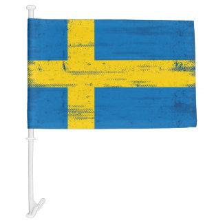 Swedish Grunge Flag Car Flag