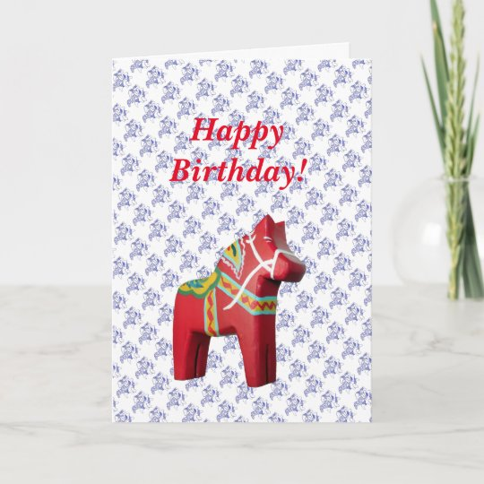 Swedish Horse Birthday Card Zazzle