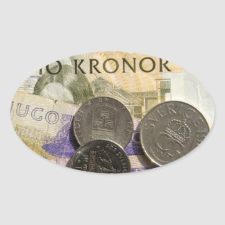 Swedish kroner oval sticker