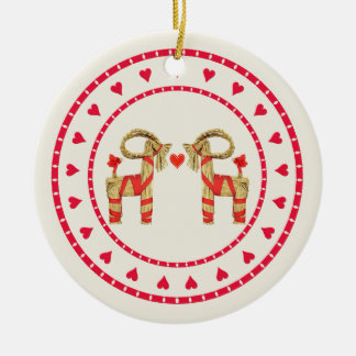 Swedish Straw Goat Julbok Heart Circle Christmas Ornament