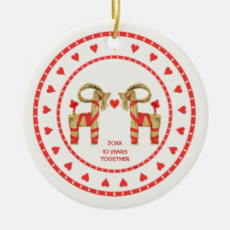 Swedish Straw Goats 10 Years Together Dated Round Ceramic Decoration