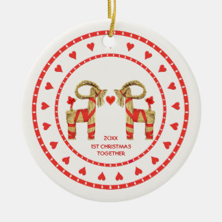 Swedish Straw Goats 1st Christmas Together Dated Christmas Ornament