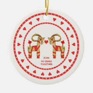 Swedish Straw Goats 40 Years Together Dated Christmas Ornament