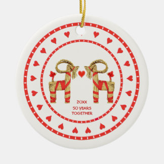 Swedish Straw Goats 50 Years Together Dated Christmas Ornament