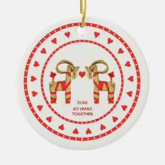 Swedish Straw Goats 60 Years Together Dated Christmas Ornament