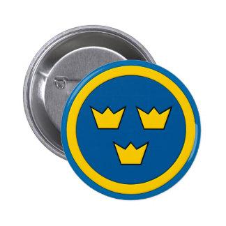 Swedish Three Crowns Flygvapnet 6 Cm Round Badge