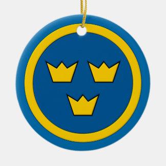 Swedish Three Crowns Flygvapnet Emblem Christmas Ornament