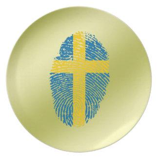 Swedish touch fingerprint flag dinner plates