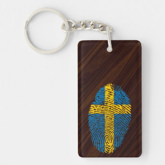 Swedish touch fingerprint flag key ring