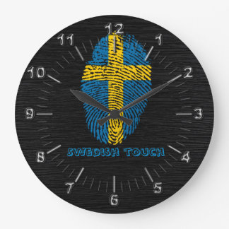 Swedish touch fingerprint flag large clock