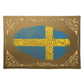 Swedish touch fingerprint flag placemats