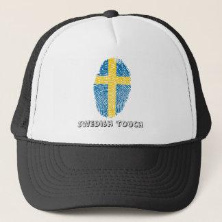 Swedish touch fingerprint flag trucker hat