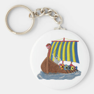 Swedish Viking Ship Basic Round Button Key Ring