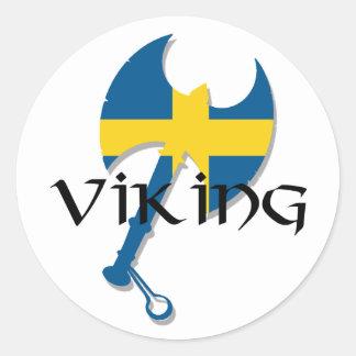 Swedish Viking Sweden flag Axe Round Sticker