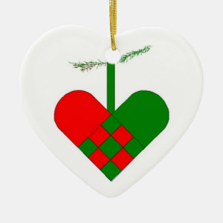 Swedish Woven Paper Heart Ceramic Heart Decoration